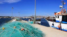 Fischernetz- und Fischereihafen Lizenzfreies Stockfoto