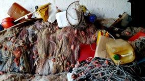 Fischernetze und Ausrüstung Stockbild
