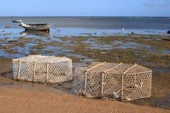 Fischfallen und -boote bei Ebbe, Rodrigues Insel Stockfoto