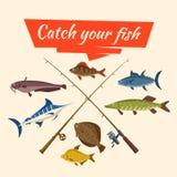 Fischfang und -fischer vector Gerät und Stangen lizenzfreie abbildung