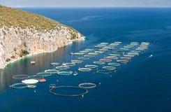 Fischfarm im Meer Lizenzfreies Stockfoto