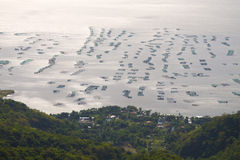 Fischfarmen auf Taal See Stockfotos