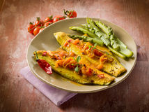 Fischfilet mit heißem Paprika der Tomate lizenzfreies stockfoto