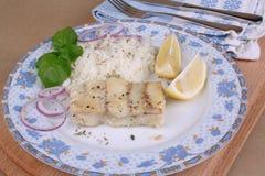 Fischfilet mit Reis lizenzfreies stockfoto