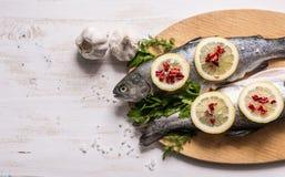 Fischgericht, das mit verschiedenen Bestandteilen kocht Rohe Regenbogenforelle mit Zitrone Lizenzfreie Stockbilder