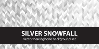 Fischgrätenmustermuster-Satz silberne Schneefälle Nahtlose Parketthintergründe des Vektors stock abbildung