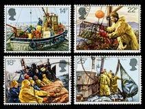 Fischindustrie-Briefmarken Großbritanniens Stockbilder