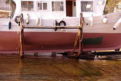 Fisching boat. A fishing boat at the slipway for maintenance Royalty Free Stock Images