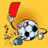 Fischio dell'arbitro del cartellino rosso Pallone da calcio di calcio Carattere divertente Fotografia Stock