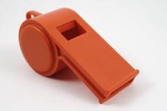 Fischio di plastica arancio Fotografie Stock Libere da Diritti