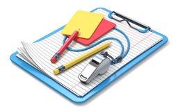 Fischio, matite, rosso, cartellino giallo e lavagna per appunti 3D illustrazione di stock