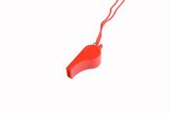 Fischio rosso isolato su fondo bianco Fotografia Stock