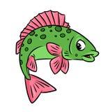 Fischkampfläufer-Karikaturillustration Lizenzfreie Stockfotos