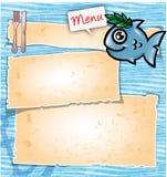 Fischkarikaturmenü Stockfoto
