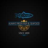 Fischlogo Meeresfrüchte-Aufkleber-Weinlese-Design-Hintergrund Stockfotos