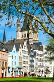 Fischmarkt和伟大的圣马丁教会, Koln -科隆,德国, 05 07 17 库存图片