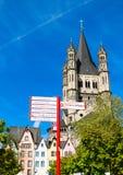 Fischmarkt和伟大的圣马丁教会, Koln -科隆,德国, 05 07 17 图库摄影