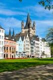 Fischmarkt και μεγάλη εκκλησία του ST Martin, Koln - Κολωνία, Γερμανία, 05 07 17 Στοκ Εικόνα