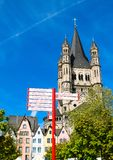 Fischmarkt και μεγάλη εκκλησία του ST Martin, Koln - Κολωνία, Γερμανία, 05 07 17 Στοκ Φωτογραφία
