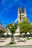 Fischmarkt και μεγάλη εκκλησία του ST Martin, Koln - Κολωνία, Γερμανία, 05 07 17 Στοκ Φωτογραφίες
