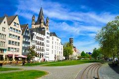 Fischmarkt και μεγάλη εκκλησία του ST Martin, Koln - Κολωνία, Γερμανία, 05 07 17 Στοκ Εικόνες