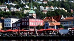 Fischmarkt in Bergen, Norwegen stock footage