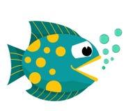 Fischmund geöffnet mit Blasen Fische auf einem weißen Hintergrund Auch im corel abgehobenen Betrag Lizenzfreie Stockfotos