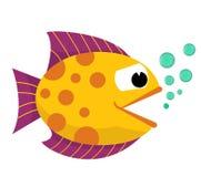 Fischmund geöffnet mit Blasen Fische auf einem weißen Hintergrund Auch im corel abgehobenen Betrag Lizenzfreies Stockfoto