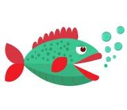 Fischmund geöffnet mit Blasen Fische auf einem weißen Hintergrund Auch im corel abgehobenen Betrag Stockfoto