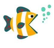 Fischmund geöffnet mit Blasen Fische auf einem weißen Hintergrund Auch im corel abgehobenen Betrag Stockfotografie