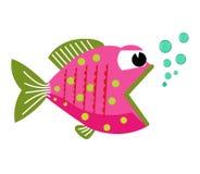 Fischmund geöffnet mit Blasen Fische auf einem weißen Hintergrund Auch im corel abgehobenen Betrag Stockbild