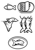 Fischnahrungsmittelsymbole Lizenzfreies Stockfoto