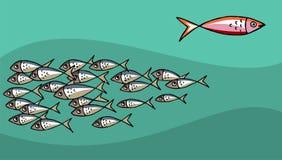 Fischschwimmen gegen die Gezeiten lizenzfreie abbildung