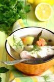 Fischsuppe vom Seebarsch Lizenzfreie Stockfotografie