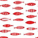 Fischt nahtloses Muster in der Gekritzelart, Vektorillustration Stockfotografie