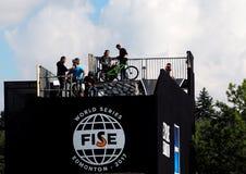 FISE-Fietsers in Edmonton Alberta Stock Foto's