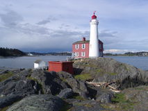 Fisgard lighthouse. The first lighthouse built in vancouver island, victoria, british columbia Stock Image
