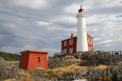 Fisgard Lighthouse Black Clouds, Victoria, BC. Historic Fisgard Lighthouse located near Victoria, British Columbia overlooking the Strait of Juan de Fuca Royalty Free Stock Photos