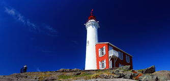 Fisgard Lighthouse, Fort Rodd Hill National Historic Site, Victoria, B.C. Historic Fisgard Lighthouse sits atop a rocky outcropping guarding Esquimalt Harbour Royalty Free Stock Images