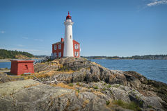 Fisgard Lighthouse, Victoria, British Columbia. Historic Fisgard Lighthouse located near Victoria, British Columbia overlooking the Strait of Juan de Fuca royalty free stock photos