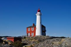 Fisgard Lighthouse, Victoria, Canada. This beautiful lighthouse is a little museum and can be visited. Nearby Victoria on Vancouver Island, British Columbia Royalty Free Stock Images