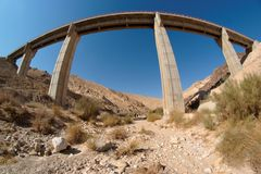 Fisgeye view of bridge in the desert Royalty Free Stock Photography