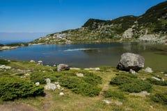 Fish湖,七个Rila湖,保加利亚的风景 库存图片