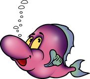 Fish 03. High detailed illustration - Happy pink fish Royalty Free Stock Images