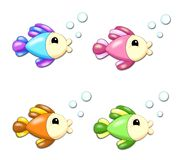Fish. Digital illustration of four colored fishes Royalty Free Stock Images