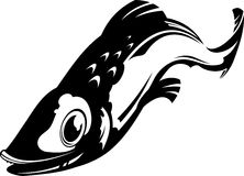 Fish. Vector illustration of a fish. Black and white Royalty Free Stock Photo
