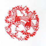 Fish. This is a Chinese paper-cut, reflecting the animal a happy life scenarios Royalty Free Stock Photography