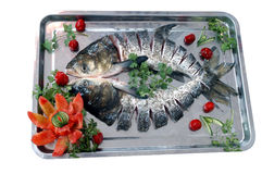 Fish. Tray of fresh raw fish stock photos