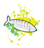 Fish. Vector art of a fish prepared with lemon, herbal and sauce Stock Photo