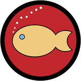 Fish. Conceptual illustration of a fish in a red sign Royalty Free Stock Image